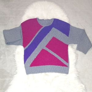 Vintage 80's 90's Geometric Knit Top Sweater